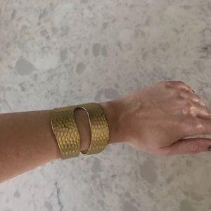 Jewelry - Heavy designer large brass bangle cuff bracelet